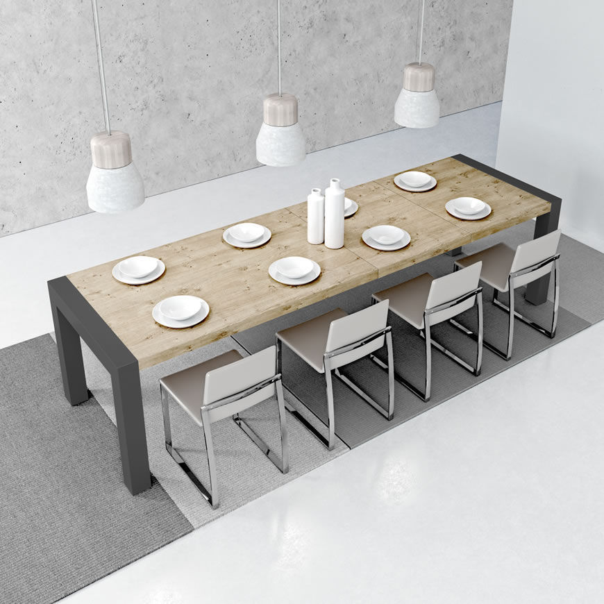 Contemporary Dining Table Metal Stained Wood Melamine