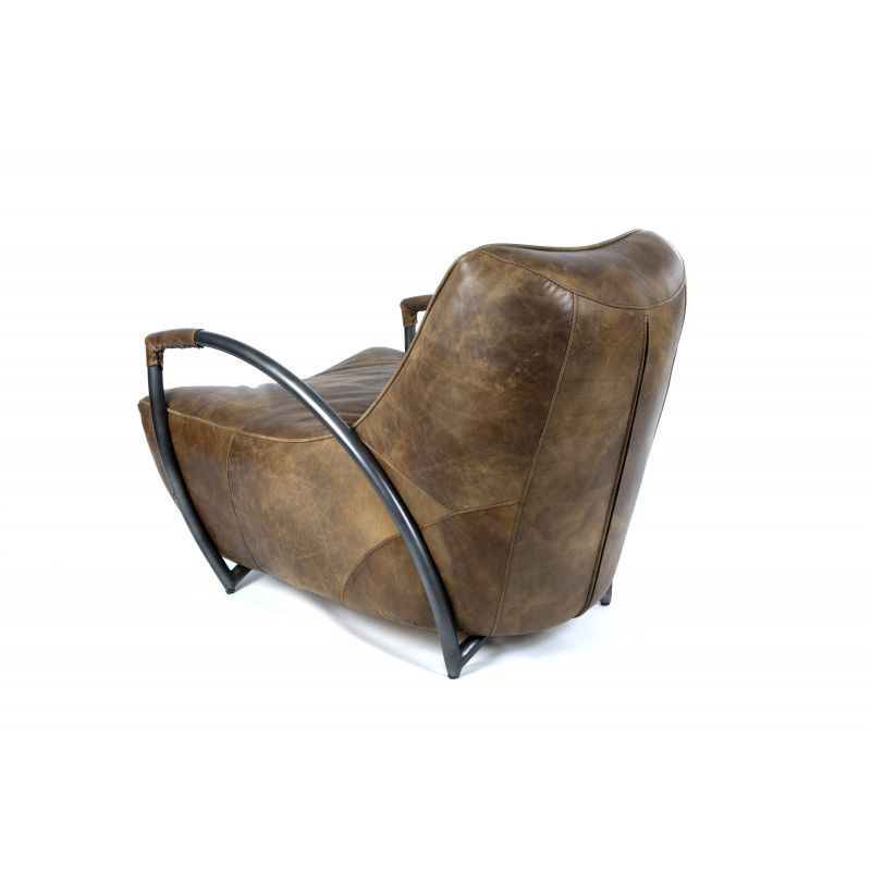 Industrial Style Armchair Leather Iron Sofa Batch Whiskey