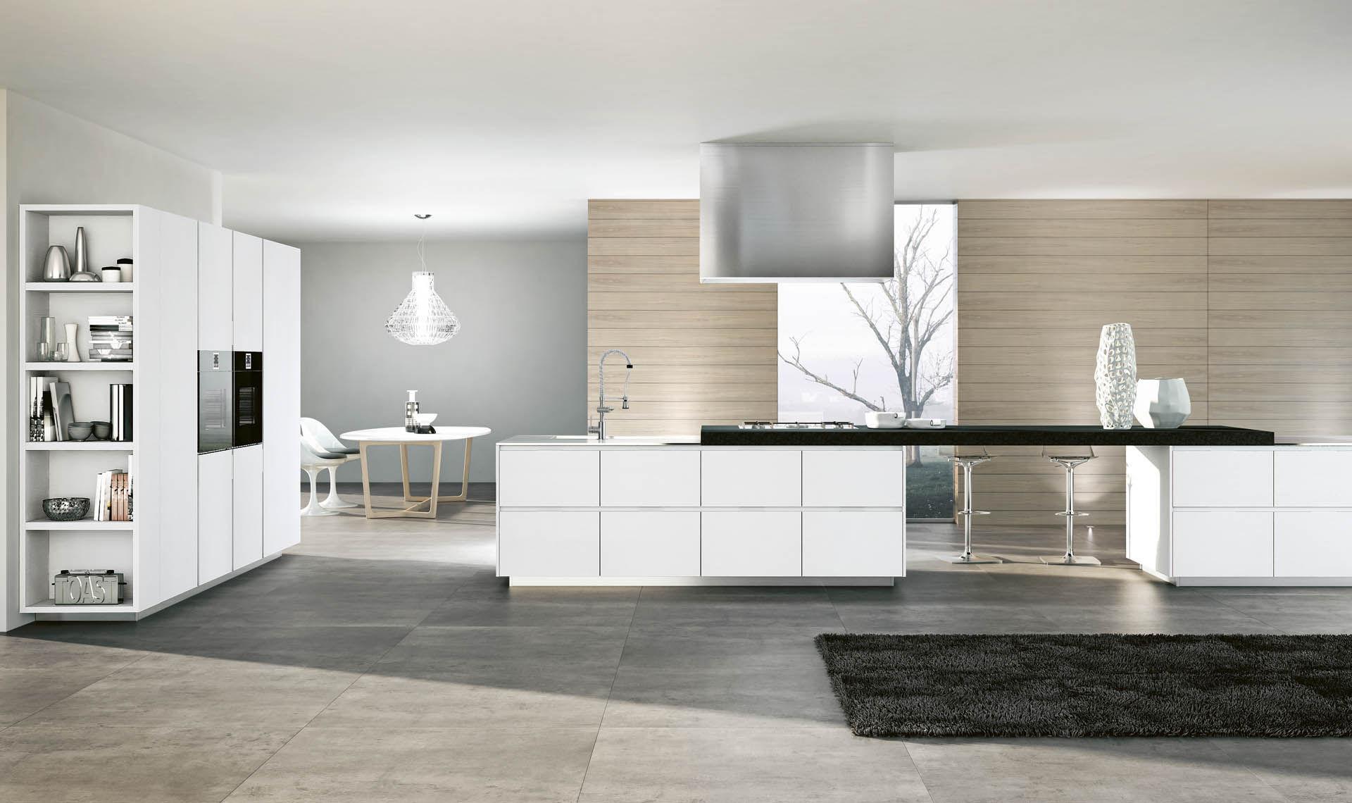 contemporary kitchen / melamine / stainless steel / wood veneer ... - Cucine Valdesign