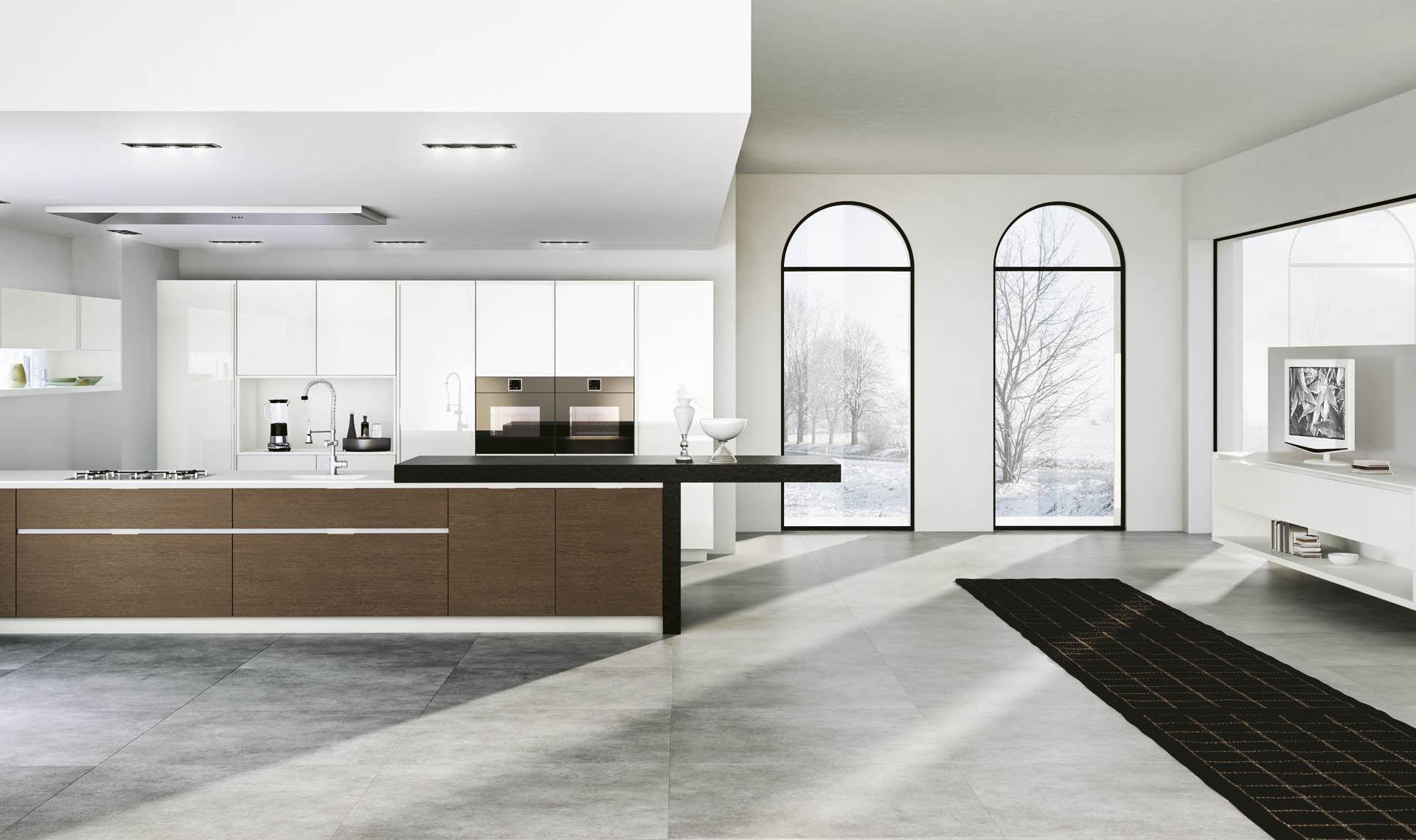 contemporary kitchen / melamine / stainless steel / wood veneer ... - Domus Cucine