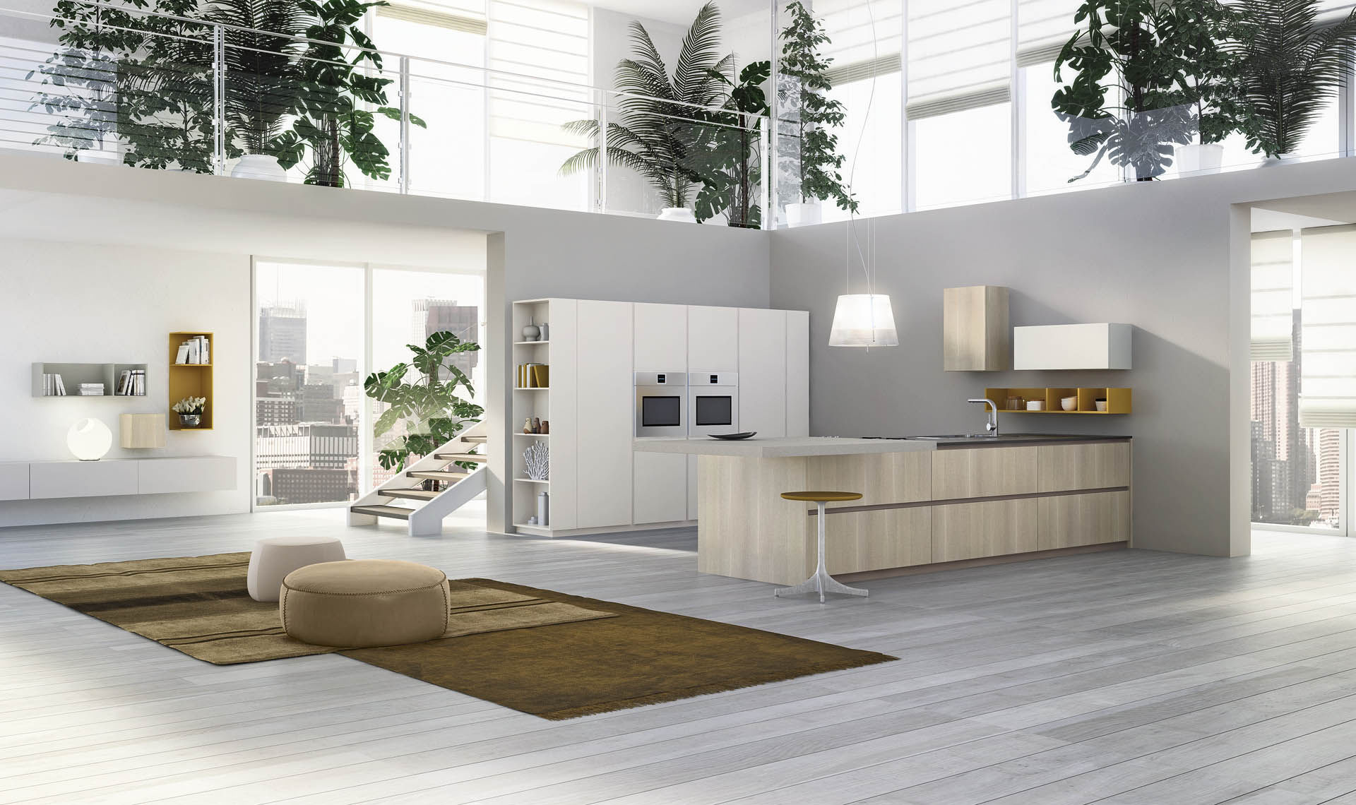 contemporary kitchen laminate wooden island grafica valdesign cucine