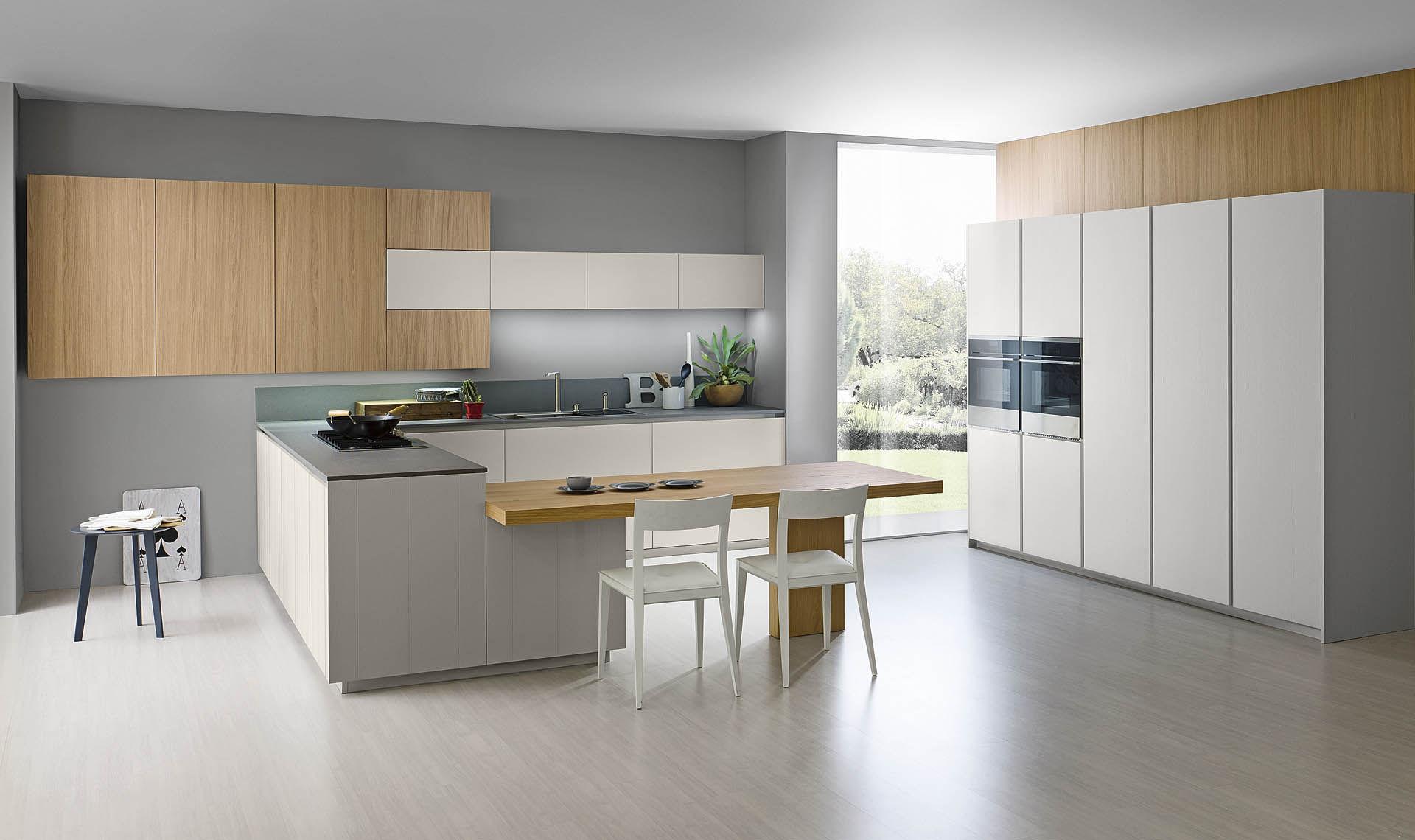 Contemporary Kitchen / Wooden / Island / Lacquered   LOGICA RAIN 2.2