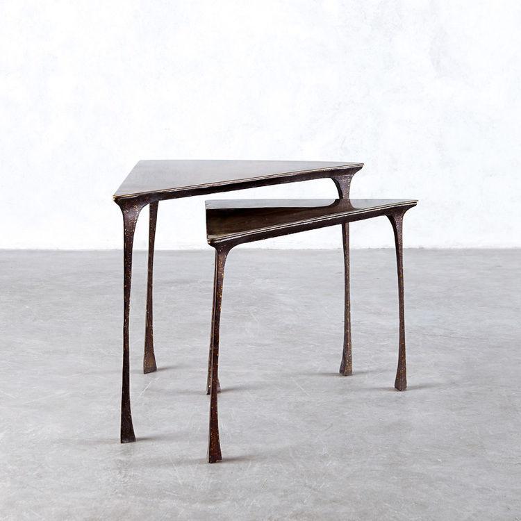 Elegant Art Nouveau Style Nesting Tables / Copper / Triangular