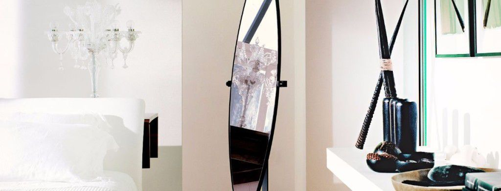 Floor-standing mirror / contemporary / oval / wrought iron - DIDONE ...