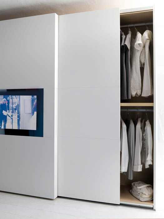 ... Contemporary Wardrobe / Glass / With Sliding Door / With TV Screen