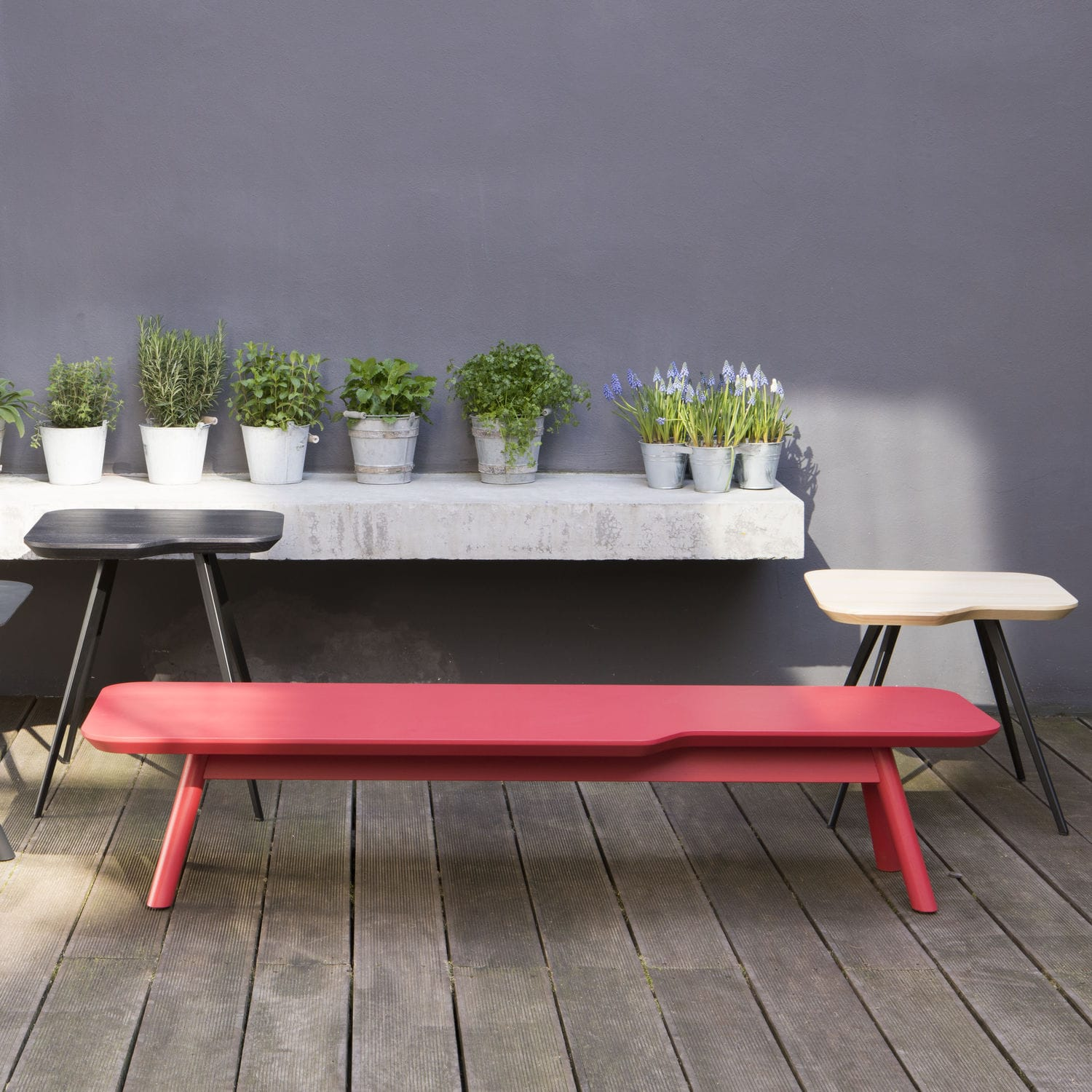 Contemporary coffee table MDF beech ash AKI SMALL by