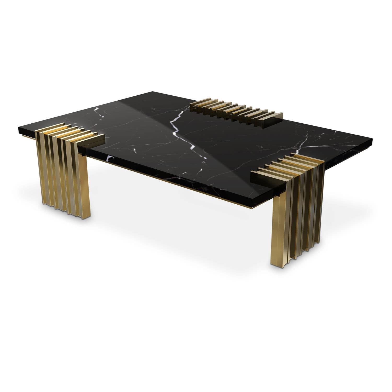 Contemporary coffee table brass marble rectangular VERTIGO