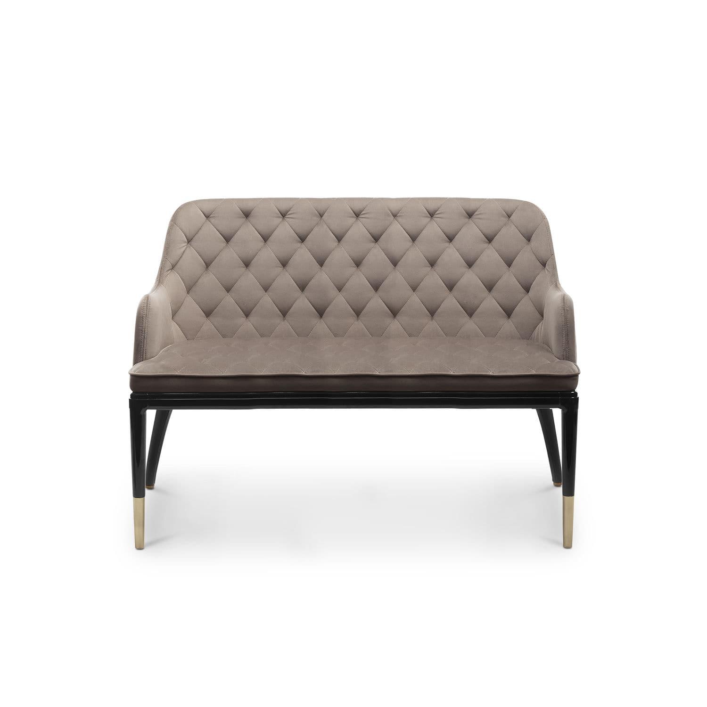 Contemporary sofa velvet leather brass charla