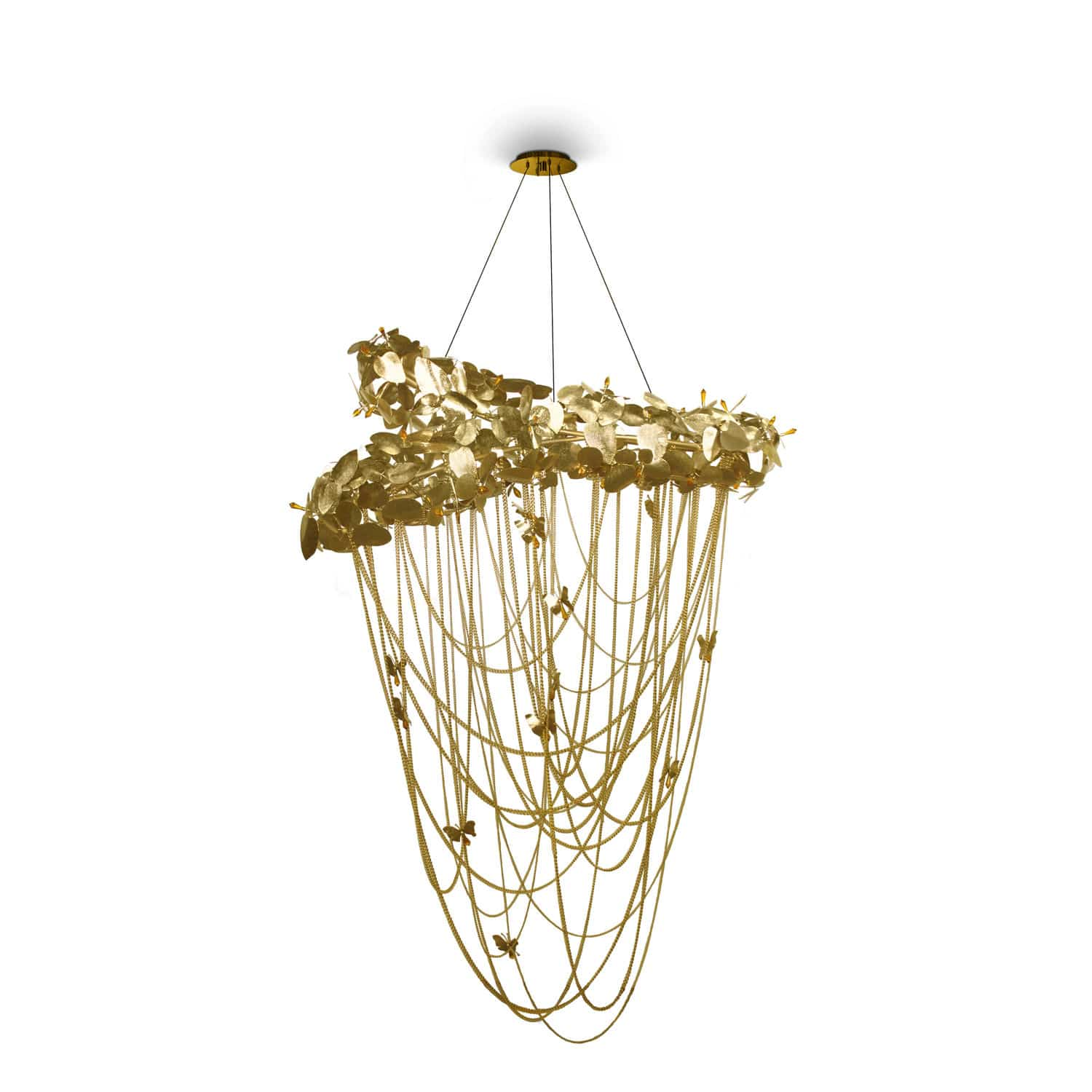 Contemporary chandelier Swarovski crystal gold plated brass