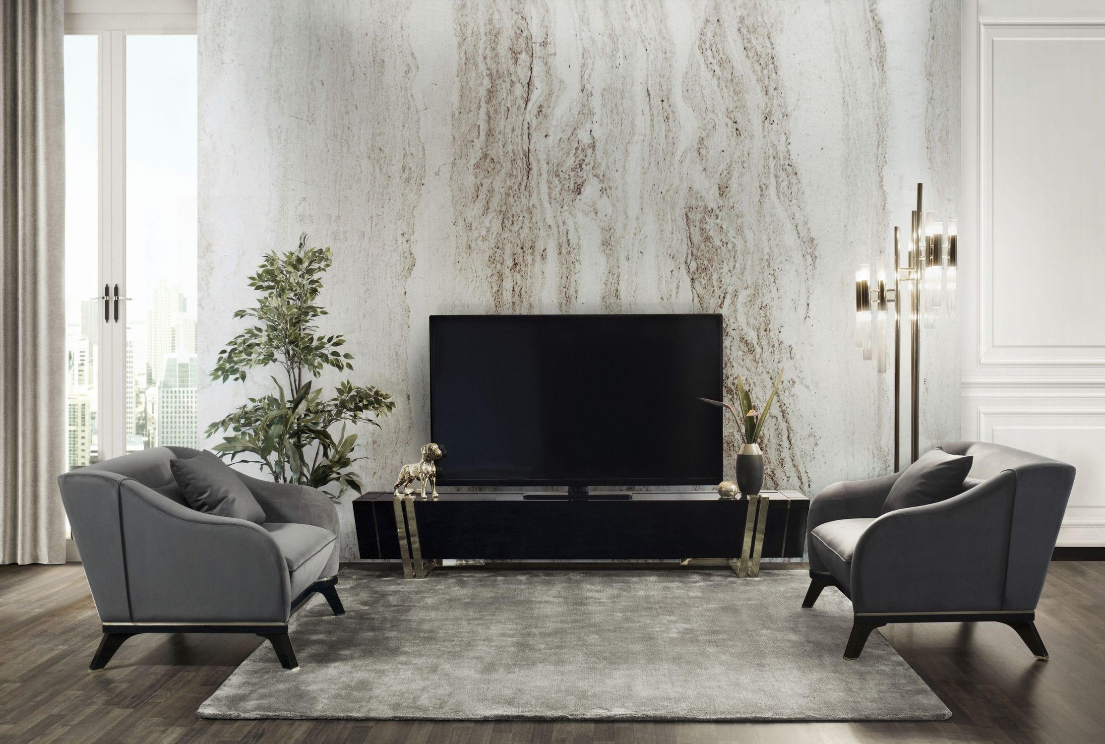 Contemporary armchair velvet wooden brass
