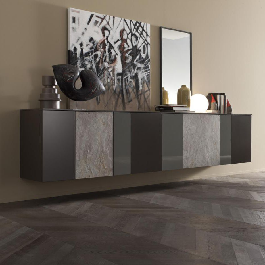 Wall Mounted Sideboard Contemporary Lacquered Wood Gray