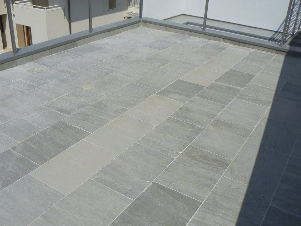 Natural Stone Slab Sandblasted For Floors Gray