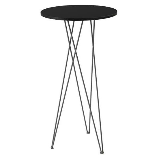 Contemporary High Bar Table Wooden Metal Round Overlap