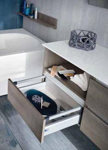 Wall-hung washbasin cabinet / oak / contemporary / kit - QB50 ...