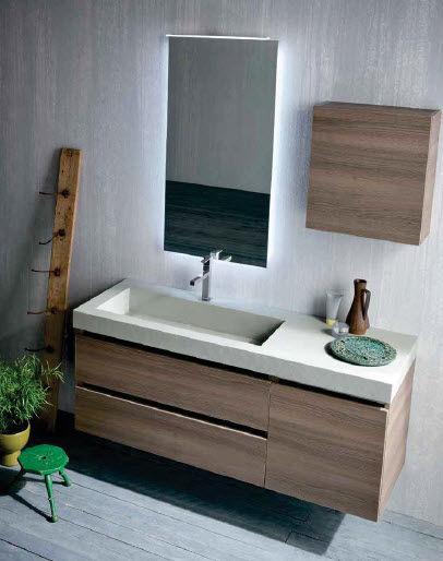 Wall-hung washbasin cabinet / wooden / contemporary - QB53 - IDEAL BAGNI