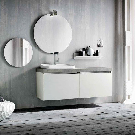 Wall-hung washbasin cabinet / wooden / contemporary / with mirror ...