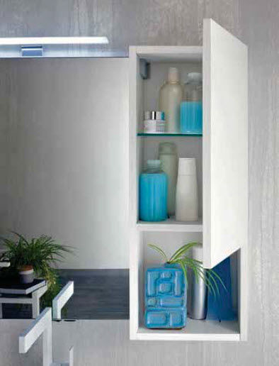 Wall-hung washbasin cabinet / elm / contemporary / with mirror ...