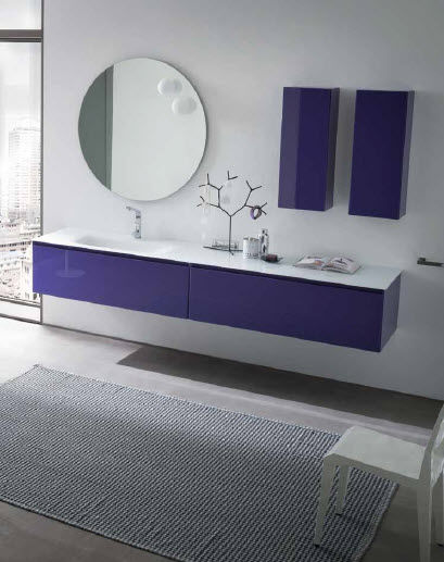 Wall-hung washbasin cabinet / glass / contemporary / lacquered ...
