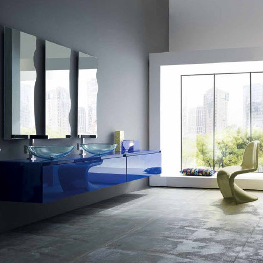 Double washbasin cabinet / wall-hung / glass / contemporary - AS03 ...