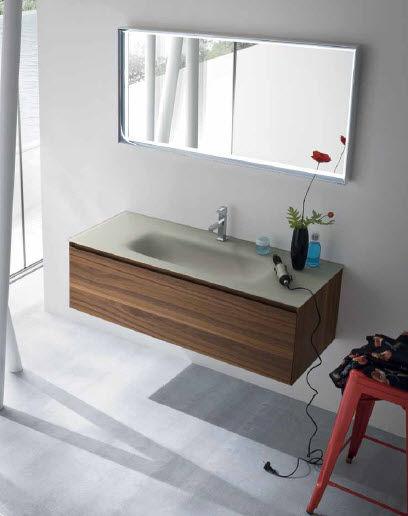 Wall-hung washbasin cabinet / walnut / contemporary / with mirror ...