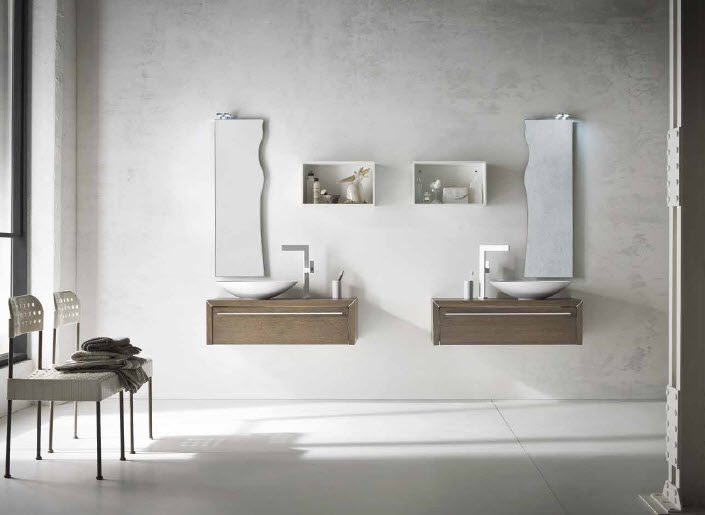 Wall-hung washbasin cabinet / oak / contemporary / lacquered - AF10 ...