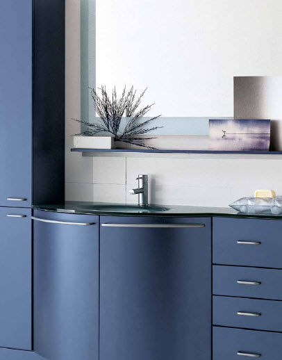 Free-standing washbasin cabinet / aluminum / wooden / contemporary ...