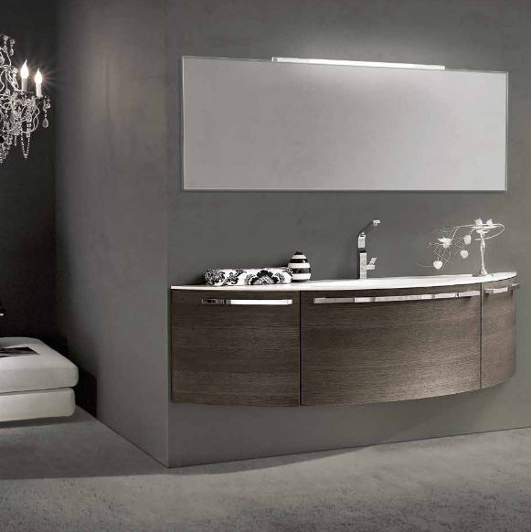 Wall-hung washbasin cabinet / oak / contemporary / with mirror ...