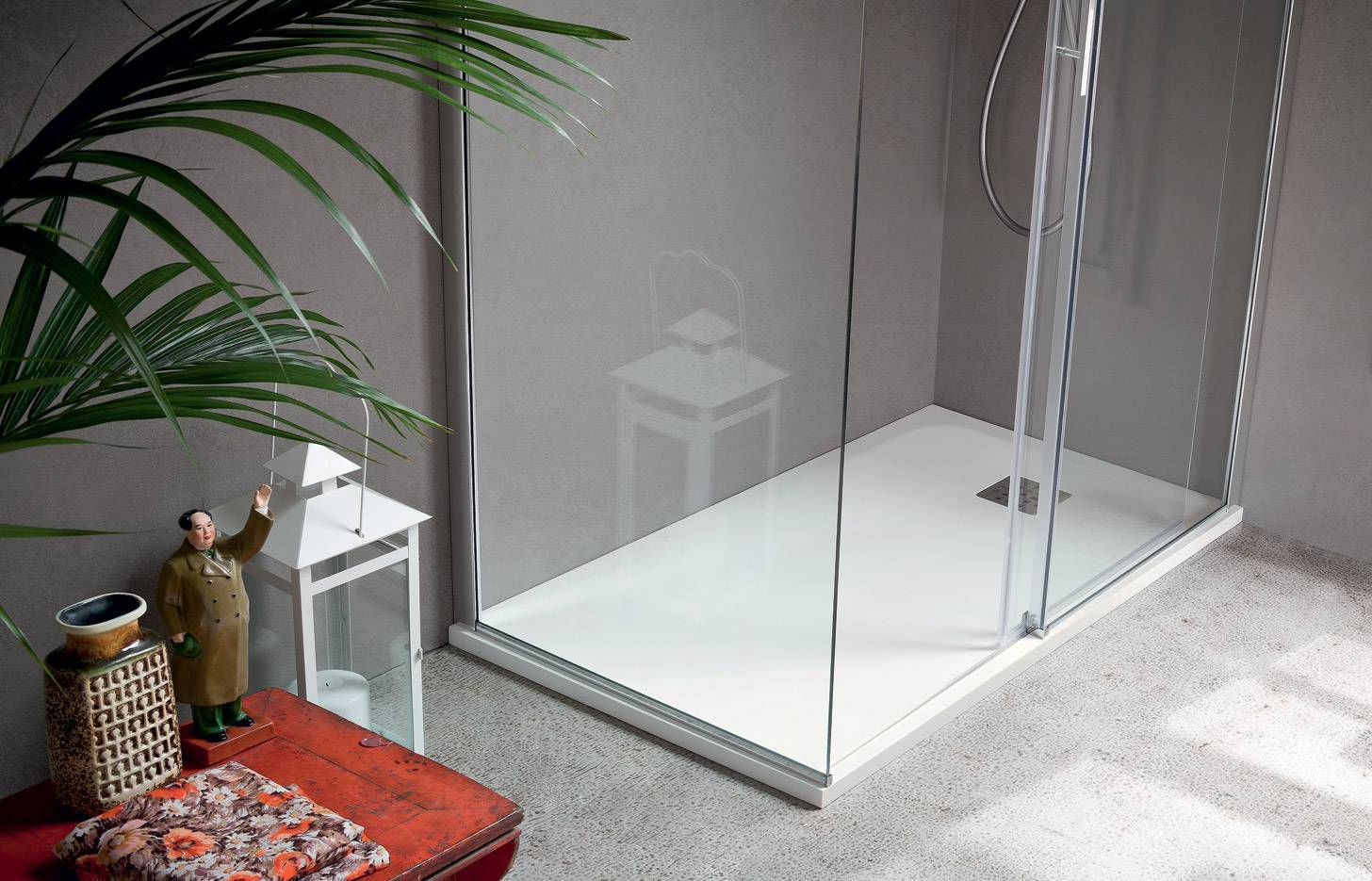 Rectangular shower base / composite - MARTINI MATERIA - IDEAL BAGNI