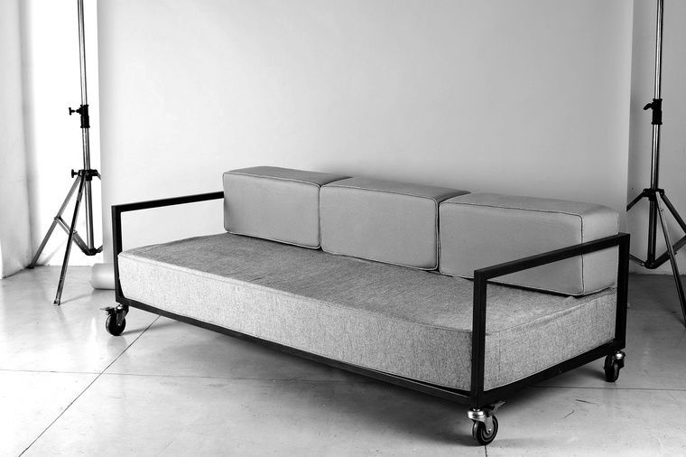 Contemporary Sofa Fabric Metal On Casters