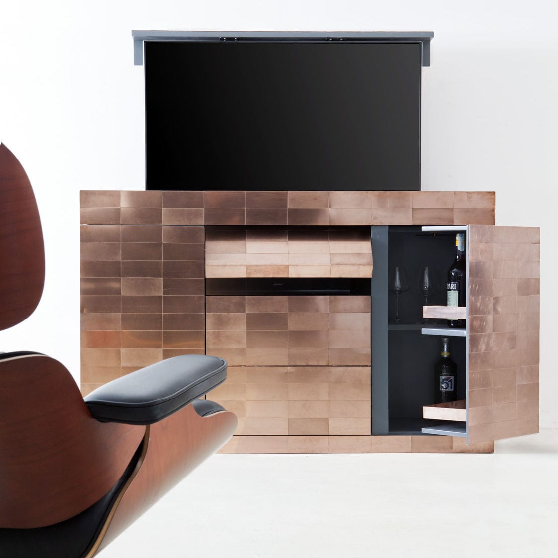 Contemporary television cabinet / custom / for hotel rooms / minibar ...