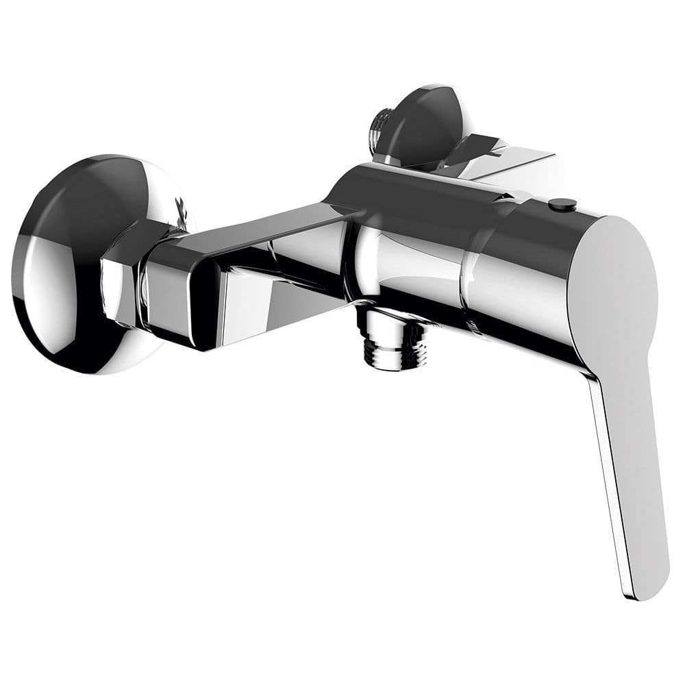 shower mixer tap / wall-mounted / chrome-plated brass / bathroom