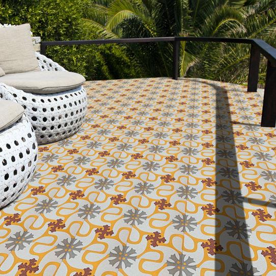 Outdoor Encaustic Cement Tile / Floor / Floral / Matte   REF 24