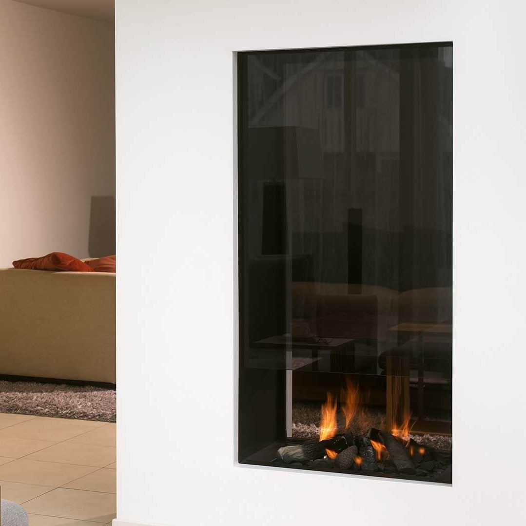 gas fireplace wood burning contemporary closed hearth 850