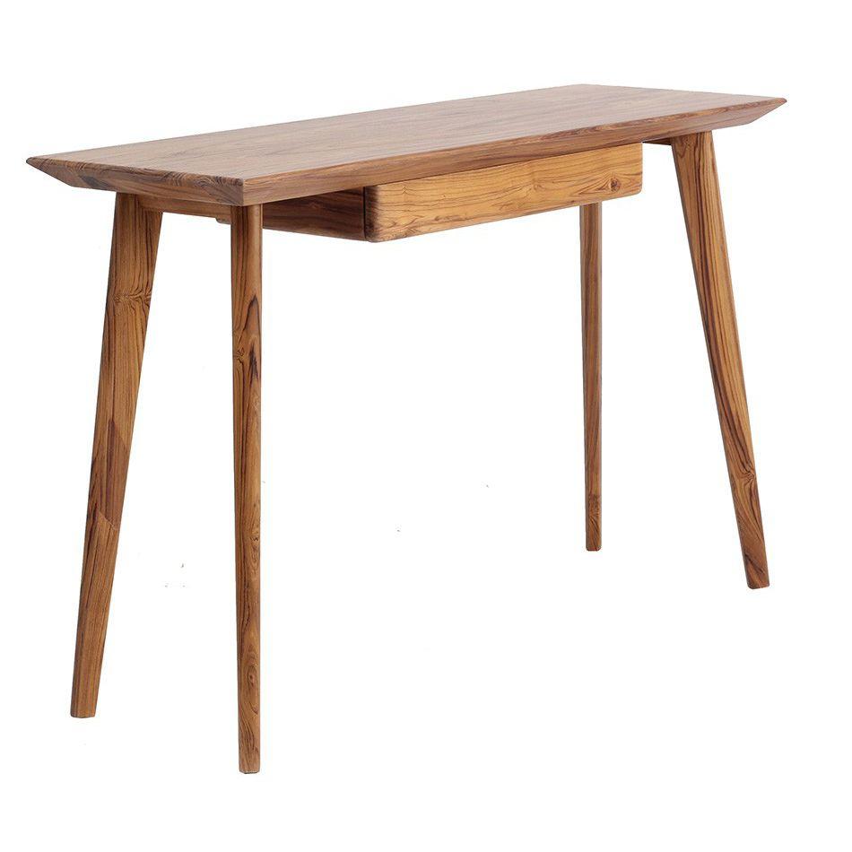 Traditional Computer Table Teak Rectangular Commercial Ajji