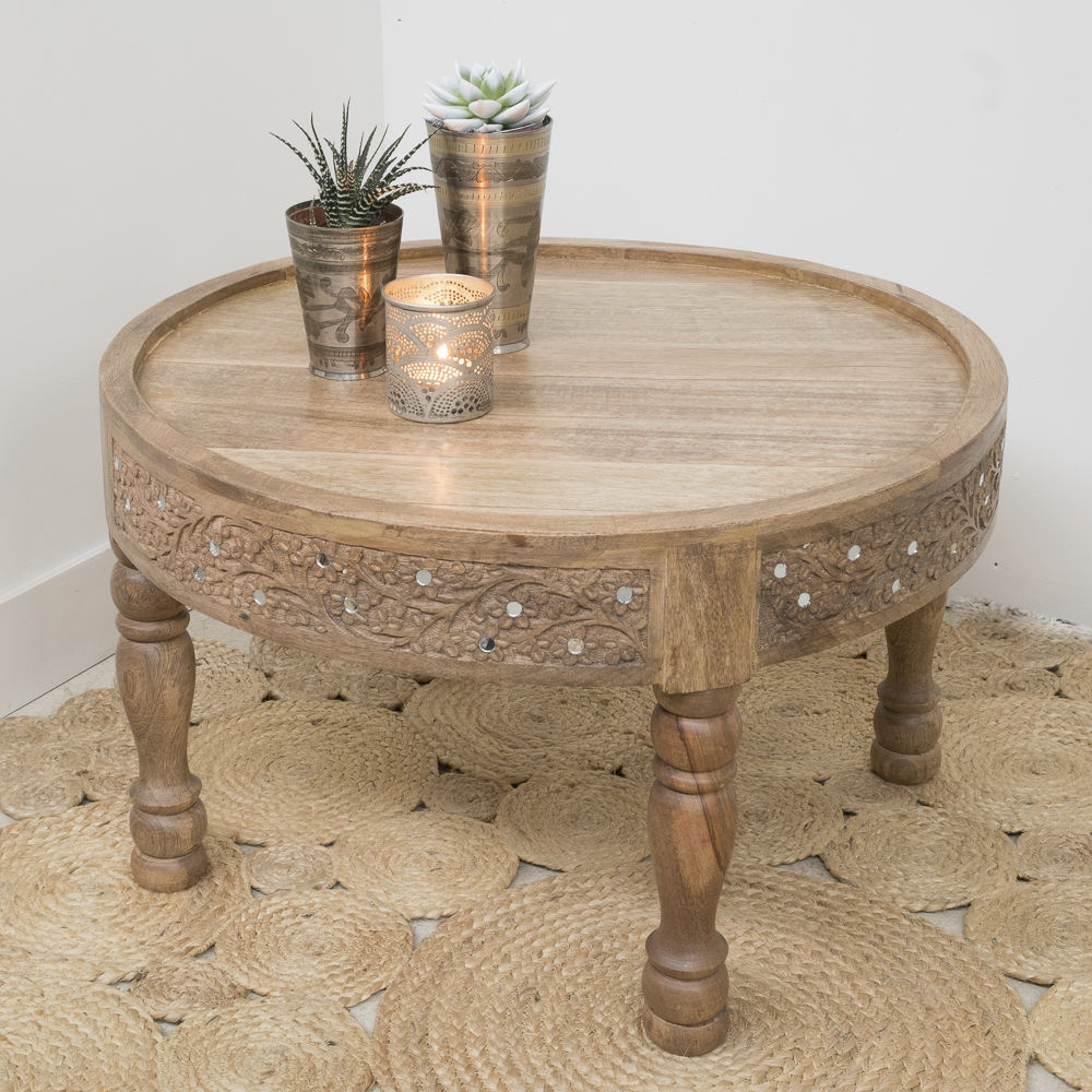 Traditional Side Table / Wooden / Round   SAHARA
