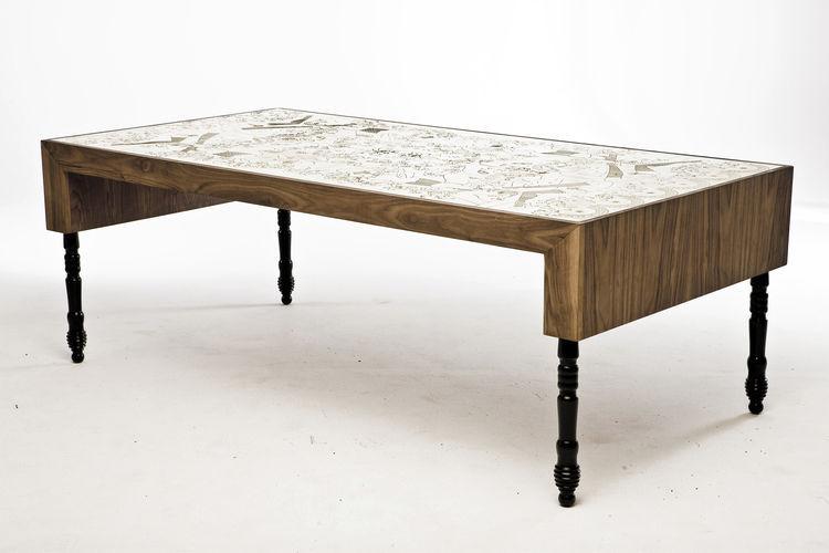 Original Design Dining Table / Walnut / MDF / Brass   SIGNATURE : BURLESQUE
