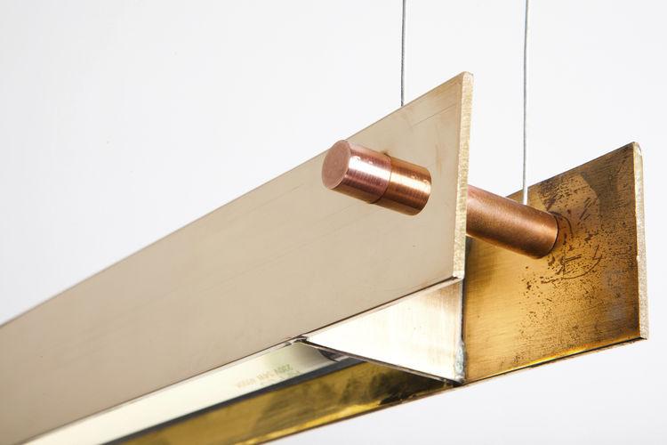 Hanging light fixture / LED / linear / brass - COX YEATS - EGG DESIGNS