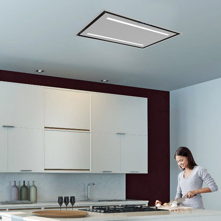 Ceiling Mounted Range Hood / With Built In Lighting   LA 90 CELUX SS