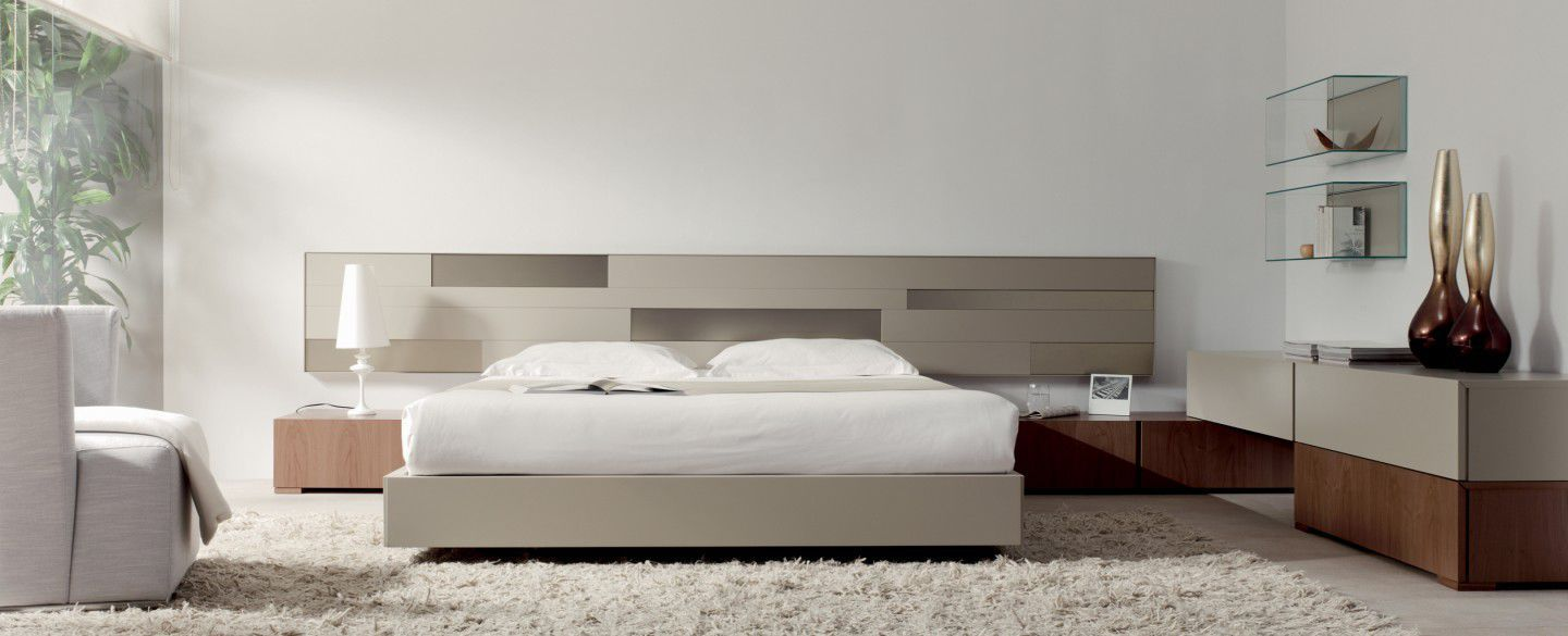 ... Double bed / contemporary / with headboard / glass URBAN EMEDE ...