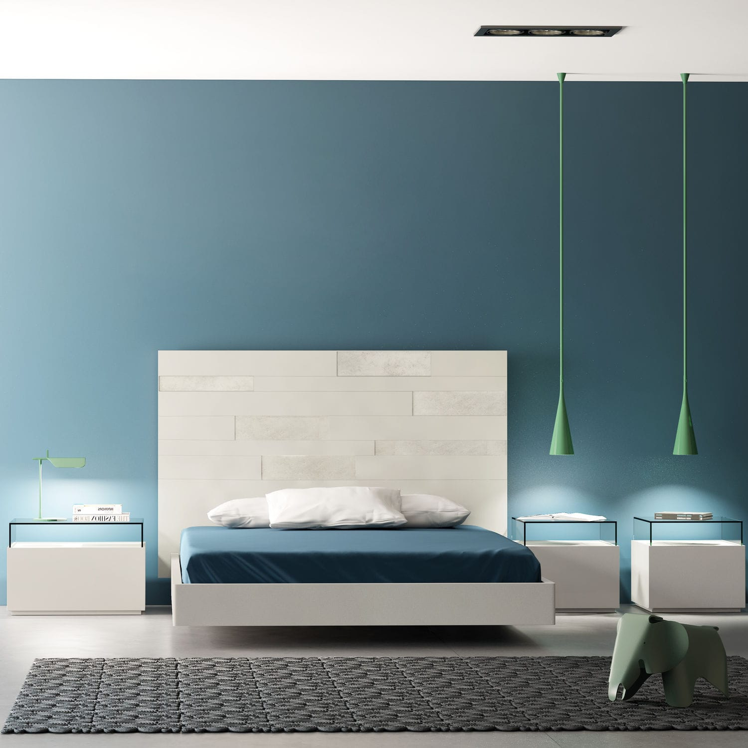 Double bed / contemporary / with headboard / glass - URBAN