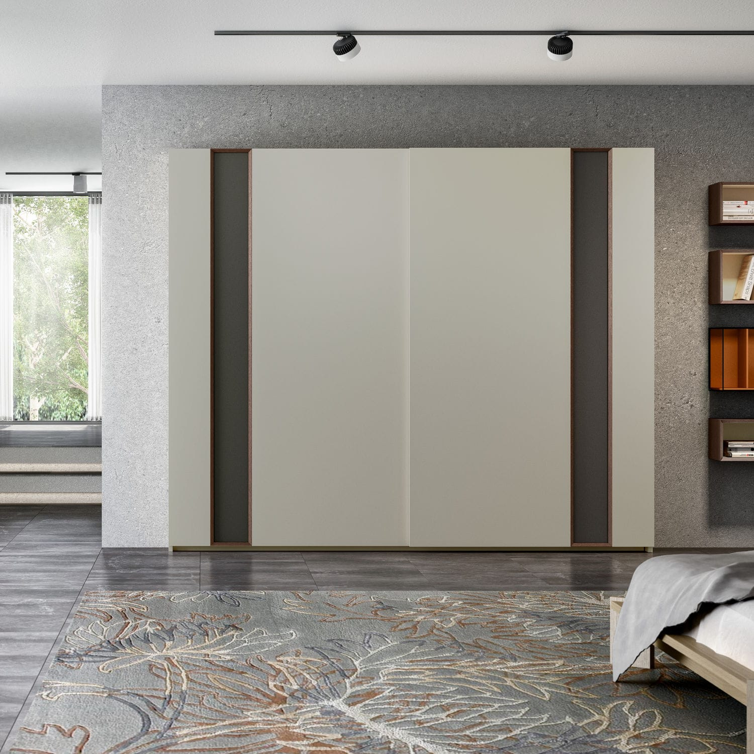 Contemporary Wardrobe Lacquered Wood Oak Sliding Door Medium