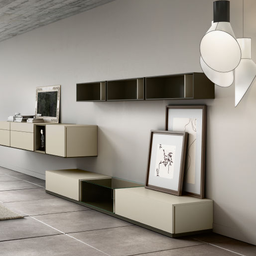 Contemporary Living Room Wall Unit / Lacquered Wood - Floor - Emede