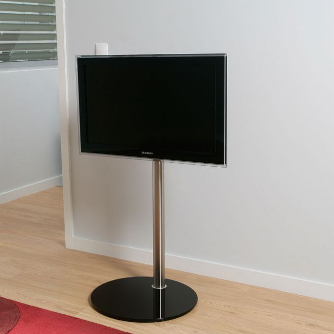 Contemporary TV Stand Swivel Glass Stainless Steel