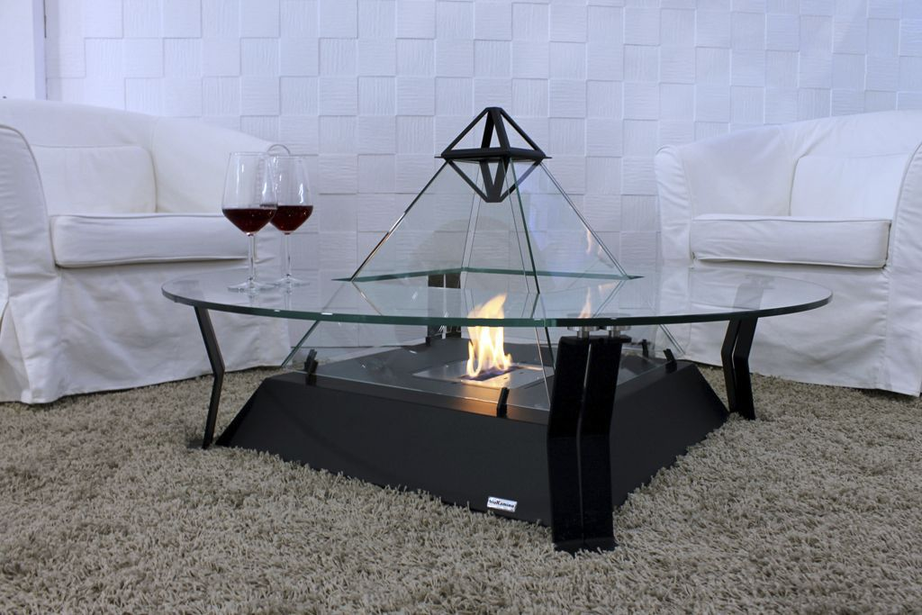 Contemporary Coffee Table Metal Crystal Round Louvre