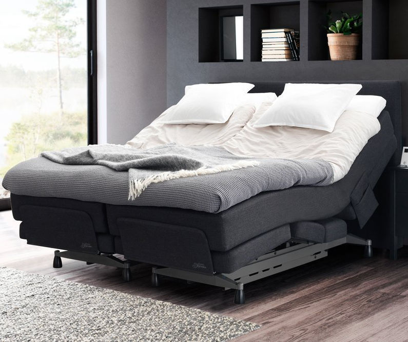 Double Bed Contemporary Upholstered With Adjustable Headboard