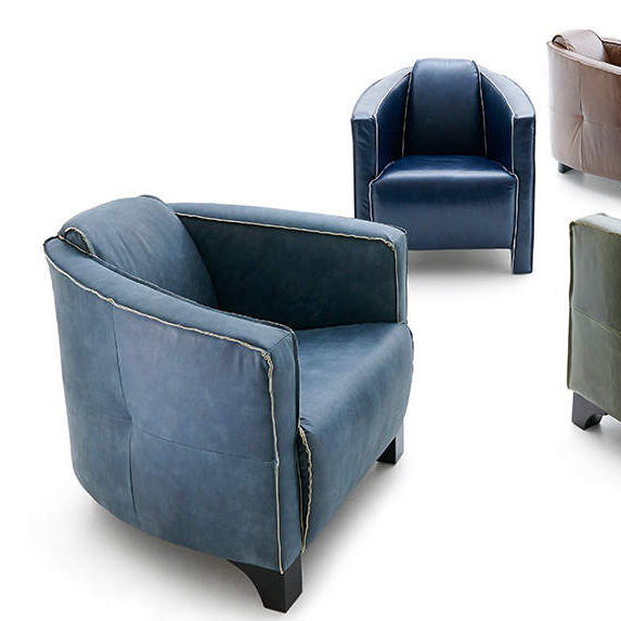 Contemporary Armchair / Leather / Wooden / Black   DYLAN Good Looking