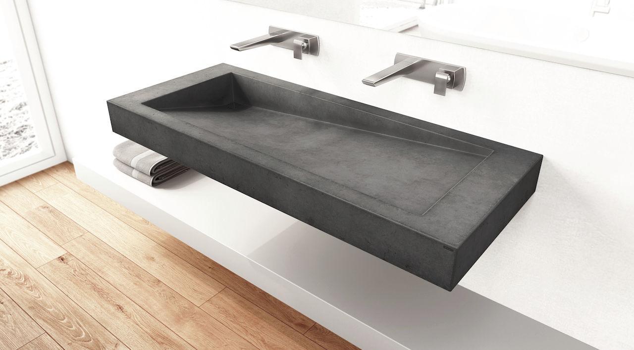 Double Washbasin / Wall Mounted / Rectangular / Concrete   SLANT 03 DOUBLE