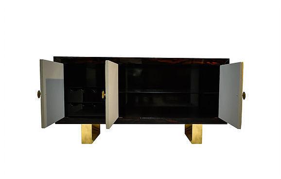 Contemporary Sideboard / Macassar Ebony / Polished Brass / Leather ...