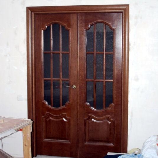 Interior door  swing  solid wood  semi-glazed - PRESTIGE