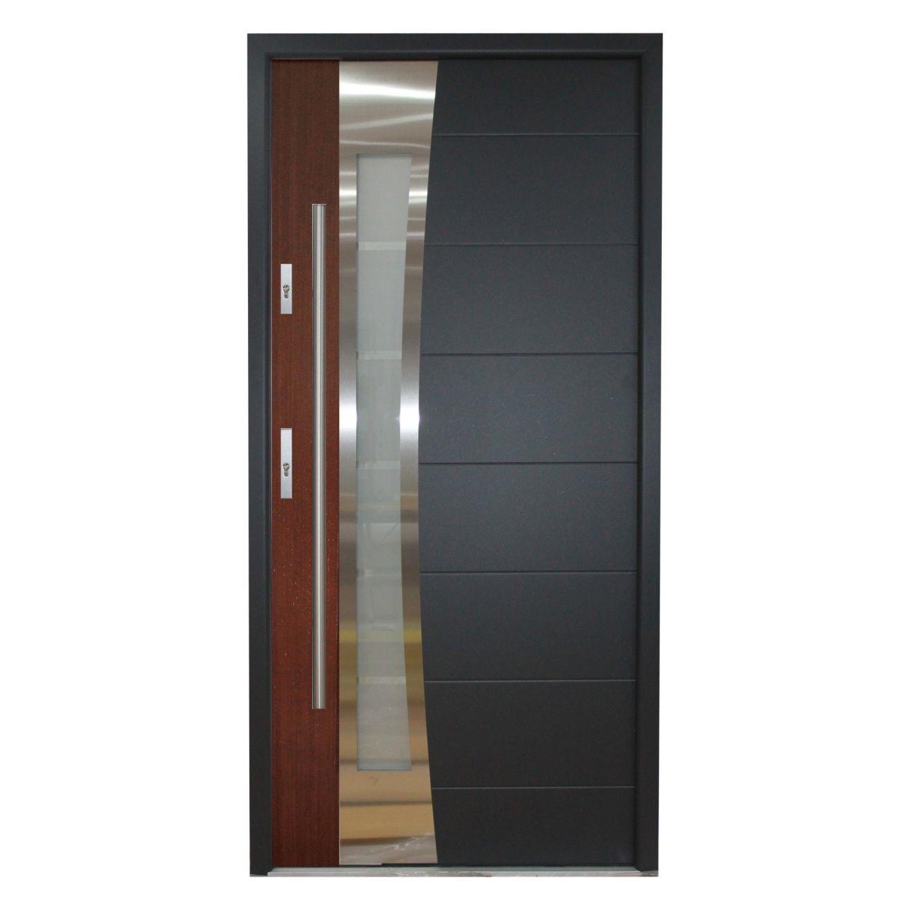 entry door / swing / wood veneer / stainless steel - PORTO  sc 1 st  ArchiExpo & Entry door / swing / wood veneer / stainless steel - PORTO - Ville Doors